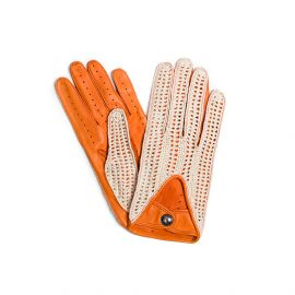 Orange with Cotton Crochet Leather Driving Gloves