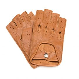 Camel Leather Fingerless Driving Gloves