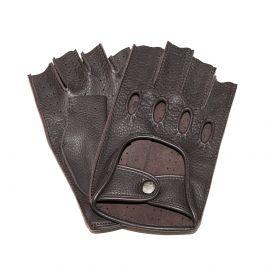 Dark Brown Leather Fingerless Driving Gloves