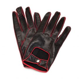Black and Red Contrast Stitching Leather Driving Gloves