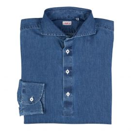 Denim 100% Washed Cotton Long Sleeve Polo Shirt