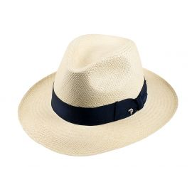 QUITO Classic Toquilla Straw Panama Hat with Blue Ribbon