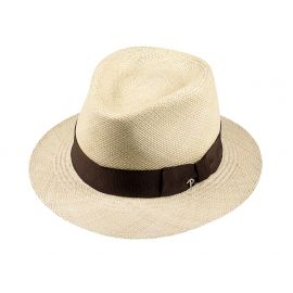 LOJA Classic Toquilla Straw Panama Hat with Brown Ribbon