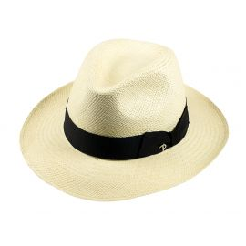 QUITO Classic Toquilla Straw Panama Hat with Black Ribbon