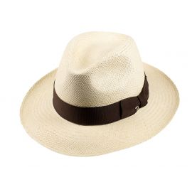 QUITO Classic Toquilla Straw Panama Hat with Brown Ribbon