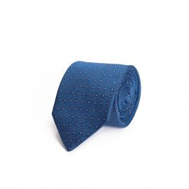 Blue with White Polka-Dot Silk Tie