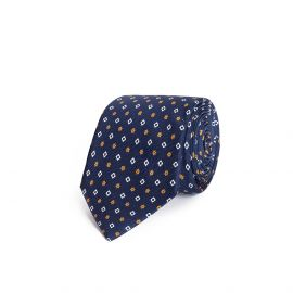Blue with Yellow and White Pattern Silk Tie