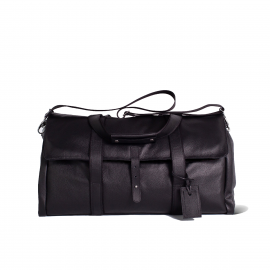 LUDOVICO MARABOTTO REGINALD Black Leather/Regimental Weekend Bag