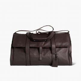 LUDOVICO MARABOTTO REGINALD Dark Brown Leather/Regimental Weekend Bag
