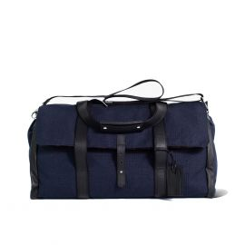LUDOVICO MARABOTTO REGINALD Blue Linen/Regimental Weekend Bag