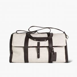 LUDOVICO MARABOTTO REGINALD Natural Linen/Regimental Weekend Bag
