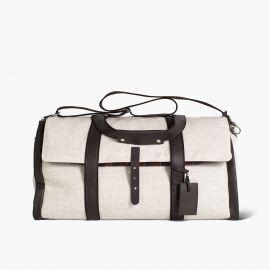 LUDOVICO MARABOTTO REGINALD Natural Linen/Regimental Weekend Bag