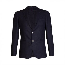 Herringbone Blue Wool-Blend Slim-Fit Blazer