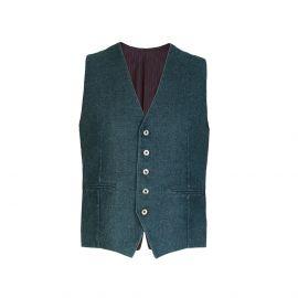 Dark Green Wool-Blend Waistcoat
