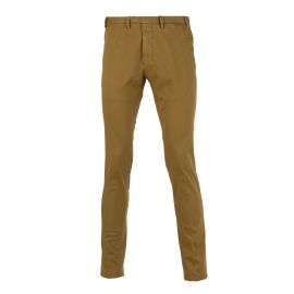 Mustard Piqué Cotton Slim-Fit Trousers