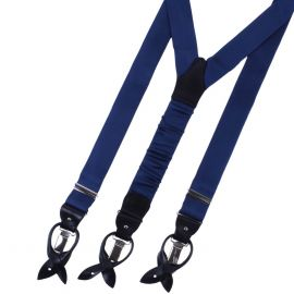SERA' FINE SILK Braces Silk And Leather Navy Blue