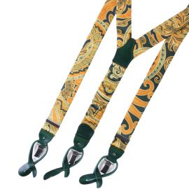 SERA' FINE SILK Braces Silk Yellow&Green Pattern