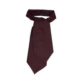 SERA' FINE SILK Burgundy Pattern Silk Ascot