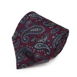 SERA' FINE SILK Burgundy with Dark Brown Paisley Pattern Silk Tie