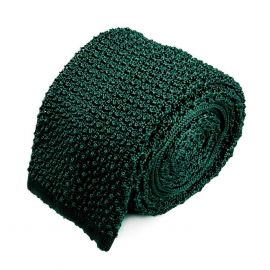 SERA' FINE SILK Forest Green Crochet Knitted Silk Tie