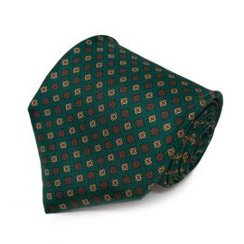 SERA' FINE SILK Green with Brown Square Dots Pattern Silk Tie