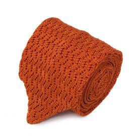 SERA' FINE SILK Knitted Zig Zag V-Point Orange Tie