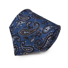 SERA' FINE SILK Light Blue with Brown Mixed Paisley Pattern Silk Tie