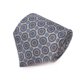 SERA' FINE SILK Light Grey with Pink Round Pattern Silk Tie