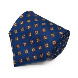 SERA' FINE SILK Midnight Blue with Brown Squares Pattern Silk Tie