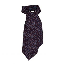 SERA' FINE SILK Navy Blue Paisley Silk Ascot