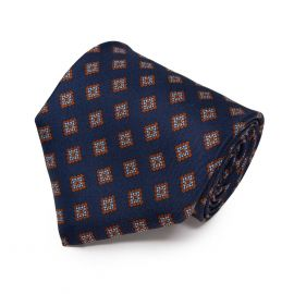 SERA' FINE SILK Navy Blue with Light Blue Diamond Pattern Silk Tie