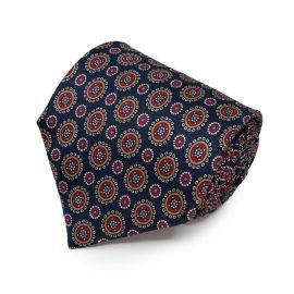 SERA' FINE SILK Navy Blue with Round Pattern Silk Tie