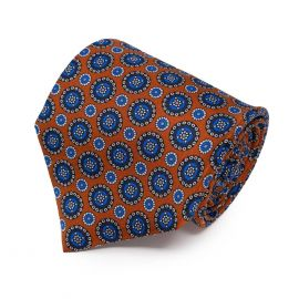SERA' FINE SILK Orange with Blue Round Pattern Silk Tie
