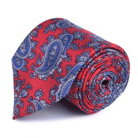 SERA' FINE SILK Red and Blue Paisley Printed Tie