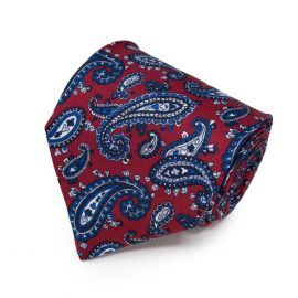 SERA' FINE SILK Red with Blue Paisley Pattern Silk Tie