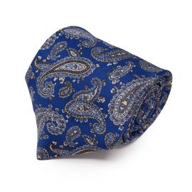 SERA' FINE SILK Royal Blue with Light Brown Paisley Pattern Silk Tie