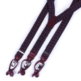 SERA' FINE SILK Blue & Burgundy Paisley Wool and Leather Braces
