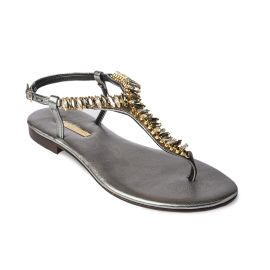 STEEL with Transaprent Crystals Embellished Grey Sandals