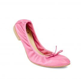 Pink Folding Leather Ballet Flats