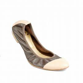 Bicolor Brown/Pink Folding Leather Ballet Flats
