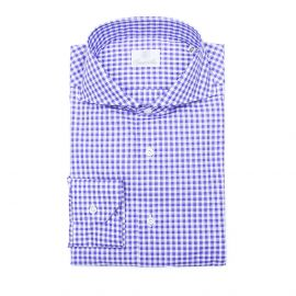 BUSINESS IN VESPA Purple Gingham Check Twill Double Twisted Cotton Shirt