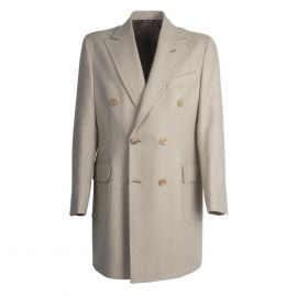 VIRUM NAPOLI Beige and Cream Herringbone Double-Breasted Coat