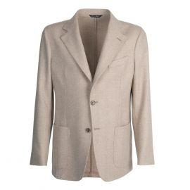 VIRUM NAPOLI Beige and Cream Herringbone Single-Breasted Jacket