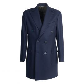 VIRUM NAPOLI Blue Herringbone Double-Breasted Coat