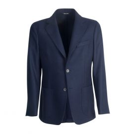 VIRUM NAPOLI Blue Herringbone Single-Breasted Jacket