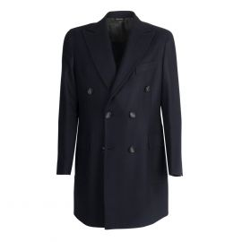 VIRUM NAPOLI Blue Navy Herringbone Double-Breasted Coat