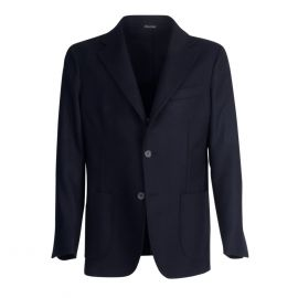 VIRUM NAPOLI Blue Navy Herringbone Single-Breasted Jacket