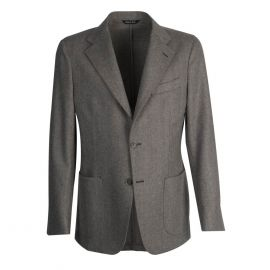 VIRUM NAPOLI Brown and Cream Herringbone Single-Breasted Jacket