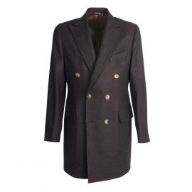 VIRUM NAPOLI Dark Brown Herringbone Double-Breasted Coat