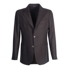 VIRUM NAPOLI Dark Brown Herringbone Single-Breasted Jacket